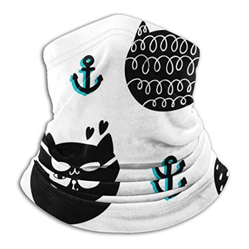 RuiShuoPiCao Máscara facial de gato negro y ancla con temática de océano para mujeres y hombres y niños, ajustable, tubo calentador de oídos