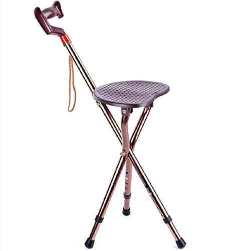 WLKQ Canne/Siège Pliable, Bton De Marche pour Plus de Soutien et de Confort, léger, Se Plie Facilement, Aide à la mobilité Hauteur Ajustable, pour Personnes âgées ou handicapées