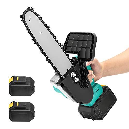 Motosierra eléctrica a batería, Motosierra 2 baterías 900W Cortadora manual pequeña, sierra...