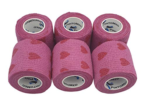 Kohäsive Bandage LOVE Pinke Farbe und Rot gedehnt 6 Rollen x 5 cm x 4,5 m selbstklebend Flexible, professionelle Qualität, erste Hilfe Sport Wrap Verbände, 6 Stück