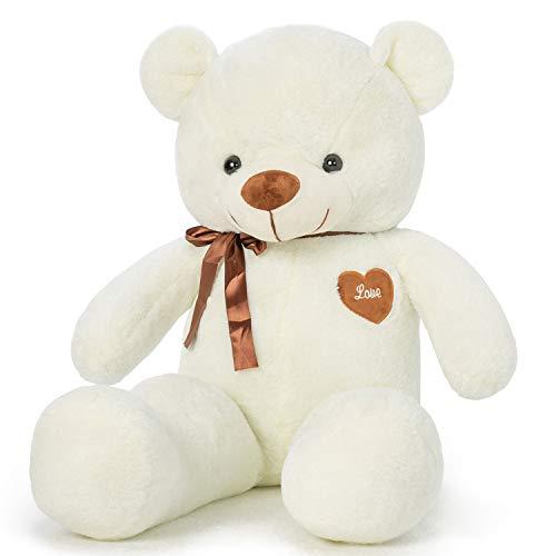 YunNasi Orso di Peluche Gigante Morbido Orsacchiotto XL 100cm Bianca Teddy Bear Grande Regalo per Bambini e Fidanzate