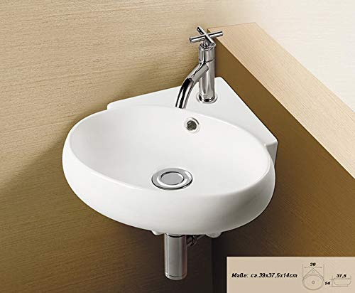 1x Eckwaschbecken (SS30) KERAMIK Wandmontage Aufsatz oval eckig Keramikwaschbecken Hänge Waschbecken Bad klein 39cmL 37,5cmB