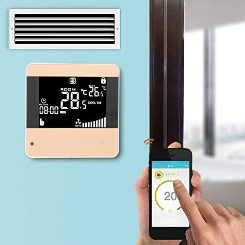 Termostato Fan-coil, Automatico, Termostato Digitale ad Alta, Media, Bassa Velocità, 5℃‑35℃ Sensore NTC a 4 Velocità per Ufficio(WIFI models, pink)