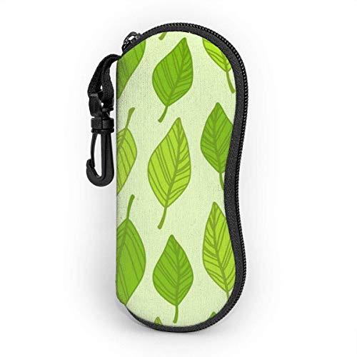 Leaf-Clipart Unisex Fashion Portable Brillenetui Student Schreibwaren Box Aufbewahrungstasche Reißverschluss mit Haken 7,9 x 15,4 cm