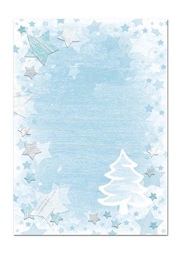 50 Blatt Weihnachtsbriefpapier weihnachtliches Briefpapier Papier WEIHNACHTSBAUM BLAU WEISS TÜRKIS 100g Weihnachtspapier Schreibpapier Motiv-Papier DIN A4 Design-Papier