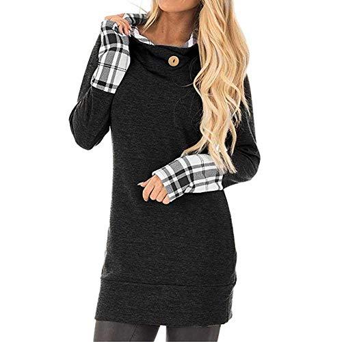 YWLINK Damen Langarm Hoodie Mit Karierten Patchwork Sweatshirt-Kapuzen Oberteile Pullover Kleid(M,Schwarz)