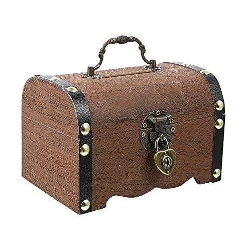 WINOMO Retro Wooden Treasure Chest Storage Box, Wooden Money Storage Box Piggy Bank with Lock and Keys, Gift for Kids Adult