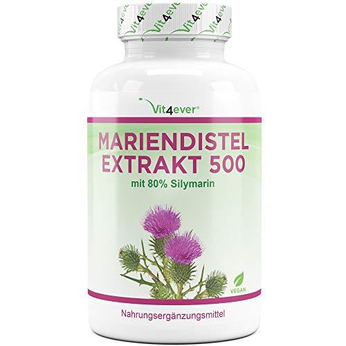 Vit4ever® Mariendistel Extrakt 180 Kapseln mit je 500 mg - 80% Silymarin Anteil - Laborgeprüfte Reinheit - 6 Monatsvorrat - 100% Milk Thistle Extrakt - Hochdosiert - Vegan