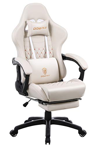 Dowinx Gaming Chair Office Desk Chair with Massage Lumbar Support, Vintage Style Armchair PU Leather E-Sports Gamer Chairs with Retractable Footrest (Ivory)