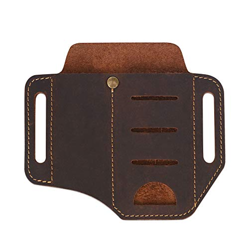 Leather Sheath, Brown Leather Storage Bag, EDC Leather Handmade Sheath for Rafting, Knives/Tools/Flashlights, Full Grain Leather Bag with Belt Loop and Pocket Holsters