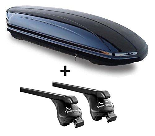 VDP Skibox schwarz glänzend MAA 460G 460 Liter abschließbar + Relingträger Dachgepäckträger aufliegende Reling im Set kompatibel mit Volvo XC90 ab 2015