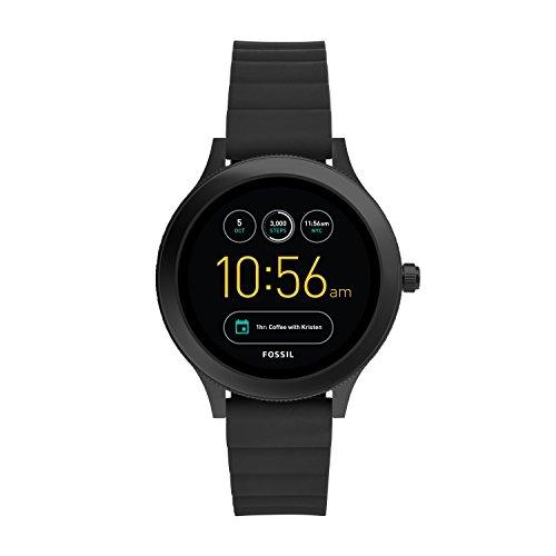 Fossil Q Venture Gen 3 Smartwatch Unisex, Cassa in Acciaio Nero e Cinturino in Silicone Nero, Compatibile con Android e iOS