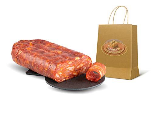 Moretti® Spianata Schiacciata Calabrese DULCE y PICANTE | Envasado 600 / 700g Envasado al vacío | Salami condimentado típico de Calabria | En tabla de cortar de madera de aliso de regalo (Picante)