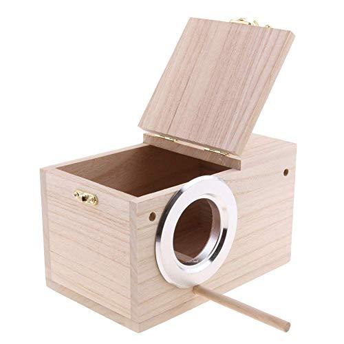 GSDCNV Holz Vogel Box, Sittich Nest Box Vogel Nestend Fütterung Station Käfig Papagei Klar Blick Fenster Vogelhaus Zucht Box für Unzertrennlichen, Papagei Paarung Box - m