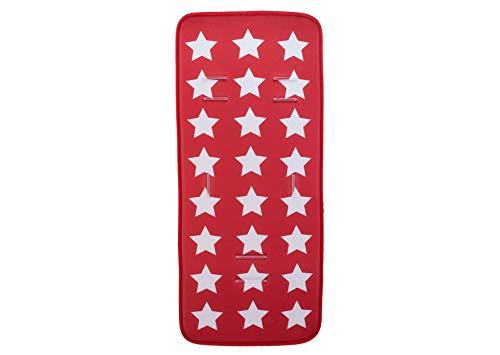 Colchoneta Silla de Paseo Universal Veranocon tejido 3D transpirable- danielstore (estrellas roja)