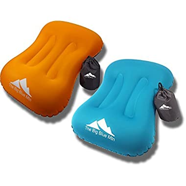 TheBigBlueMtn Ultralight Backpacking Inflatable Camping Pillow 2 Pack Set With Lightweight Compact Pouch Sack And Carabiner - Camp Hiking Summit Gear For Beach Sea Travel Hammock (Orange Blue, 2)