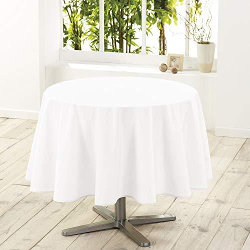douceur d'intérieur 1720243 Nappe Polyester Uni Essentiel Blanc 180 cm
