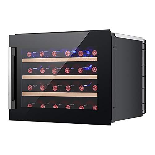 Mini Vinoteca Nevera vinos Nevera Termoeléctrico para Bodega de Vino de Encimera Pequeña para Dormitorio Oficina Cocina 24 Botellas,Negro
