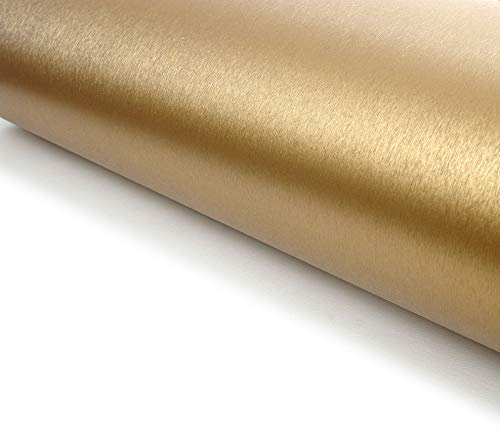 Very Berry Sticker Brushed Metal Texture Interior Film Vinyl Self Adhesive Peel-Stick Removable (Gold)
