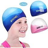 aegend Kids Swim Cap (Age 3-5), 2 Pack, Blue &...