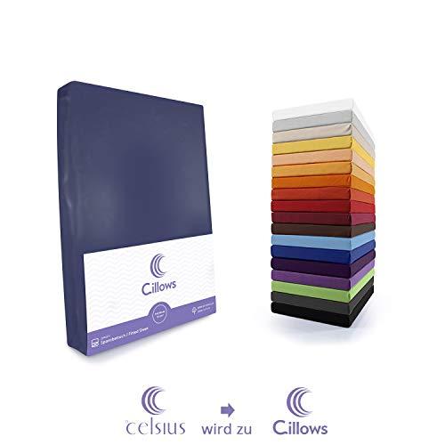 Celsius Jersey Spannbettlaken Spannbetttuch 140x200-160x220 cm 100% Baumwolle Bettlaken Farbe: Dunkelblau 160 g/m2 Qualität