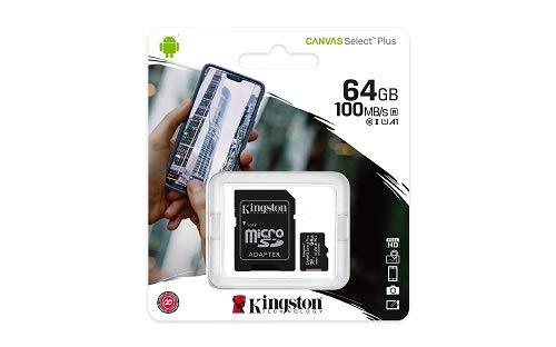 Kingston Canvas Select Plus Tarjeta microSD, SDCS2/64GB-2P1A Class 10 (2X Tarjetas,SD con Adaptador SD)
