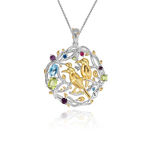 PINSHUO 925 Sterling Silver Handmade Bird Flower Bud Busy Garden Natural Multicolor Gemstones Woman'S Pendant Necklace