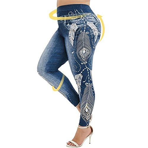 Fliegend Damen Jeggings Treggings Große Größen Jeansoptik Leggings Elastic Jeans High Waist Skinny Hosen Drucken Strumphose 3XL