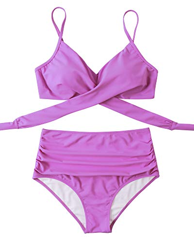 OMKAGI Women High Waisted Bandage Bikini Top Wrap Push Up Swimsuits Two Piece(M,87-Purple)