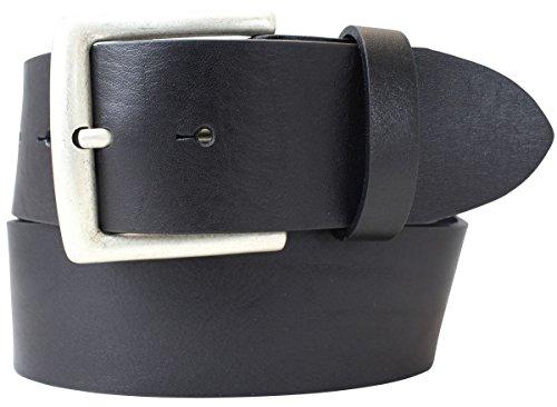 Jeansgürtel aus Vollrindleder 5 cm | Leder-Gürtel für Damen Herren 50mm | Breiter Ledergürtel aus echtem Leder | Schwarz 115cm
