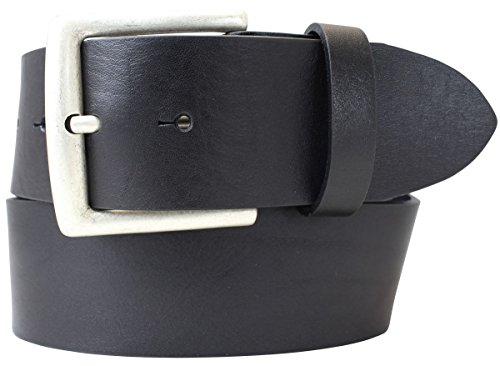 Jeansgürtel aus Vollrindleder 5,0 cm | Leder-Gürtel für Damen Herren 50mm | Breiter Ledergürtel aus echtem Leder | Schwarz 115cm