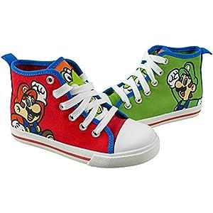 SUPER MARIO Brothers Mario Luigi Kids Shoe, Nintendo Hi Top Sneaker Laces,Toddlers Kids, Size 7 to 12 (1 M US Big Kid, Red)
