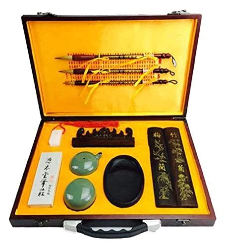 Pincel de escritura, piedra de tinta de caligrafía china, cuenco de agua, juego de pinceles, caja de regalo de alta calidad