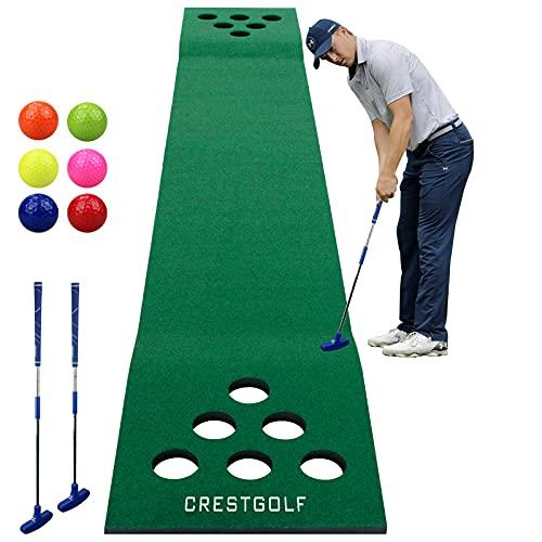 Kofull Puttingmatte Golf Puttingmatte Indoor (kostenlose 2 Golfputter + 6 Golfbälle Driving Golf Schlagmatten, Golf Green für Garten, 327 x 50 cm
