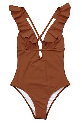 CUPSHE Women's Falbala One Piece Swimsuit Deep V Neck Monokini Swimsuit, XL Camel