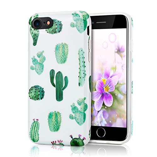 ZQ-Link Cover iPhone 7/8, Disegni Morbido Antiurto Cartoon Gel Custodia Bumper Case in TPU Silicone - Cactus Verde