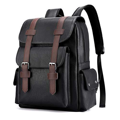 de la gran capacidad de la mochila, suave cuero de la PU impermeable portátil de los hombres de la mochila del ordenador portátil de la moda del bolso de la escuela, Black (Negro) - berglink-3D4VPV