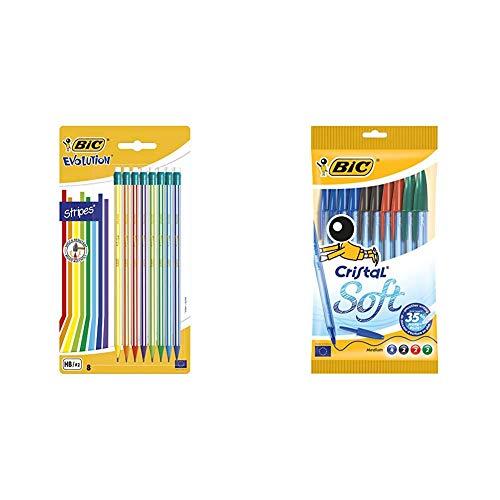 BIC Evolution Stripes Lápices de Grafito HB con Goma + Cristal Soft bolígrafos punta media (1,2 mm) con escritura suave - surtidos, Blíster de 10 unidades