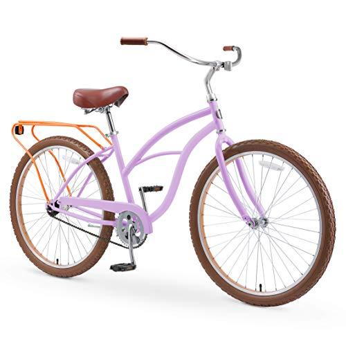 sixthreezero Around The Block Women's 26' Single Speed New Beach Cruiser Bicycle with Rear Rack, Lilac Ginger