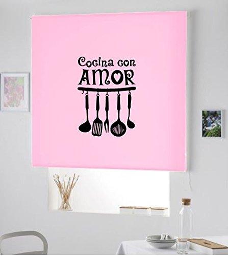 Regalos Originales- Nueva Cortina Estor Enrollable para Cocina Efecto Brillo - PERSIANA Enrollable con Dibujo Cocina con Amor (Rosa Palo, 180X175)