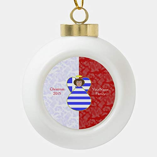 Dom576son Christmas Ball Ornaments, Greek Angel Brown Hair Dressed In Flag Ceramic Ball Christmas Ornament, Shatterproof Christmas Decorations Tree Balls for Holiday Wedding Party Decoration