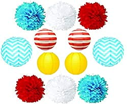 Dr. Seuss Baby Shower Theme. Colorful pom poms and lanterns for baby shower decor.