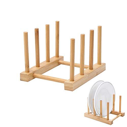 Holzsammlung 2 Piezas Escurridor de Platos de Bambú Portátil, Bandeja de Goteo Estante de Goteo Cocina Cesta de Vajilla, Soporte de Plato para Taza, Cortar Platos, CD, Libro, Copa de Vino, Hilo