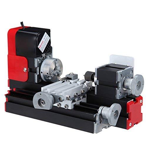 Ridgeyard Mini motorizado Volviendo herramienta de enseñanza del metal Torno Máquina de trabajo de bricolaje para la toma de Ciencia Hobby Modelo de Educación