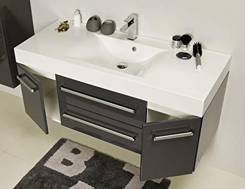 Quentis Badmöbel Aruva, Breite 120 cm, Waschbecken und Unterschrank, anthrazit glänzend, 2 Türen, 2 Schubladen, Waschbeckenunterschrank montiert