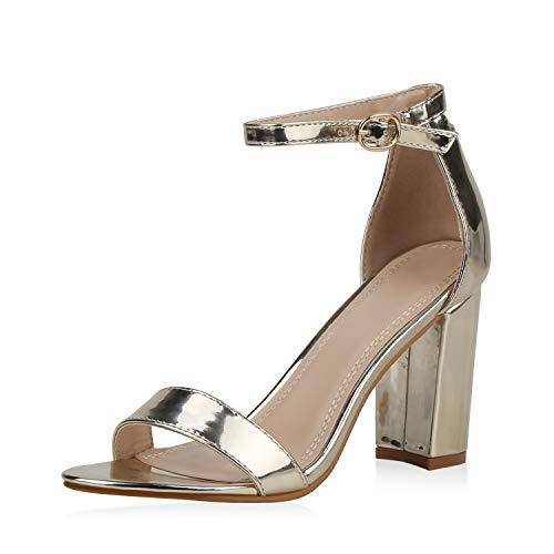 SCARPE VITA Damen Riemchensandaletten High Heels Sandaletten Basic Party Schuhe Wildleder-Optik Absatzschuhe Abendschuhe 189568 Gold 39