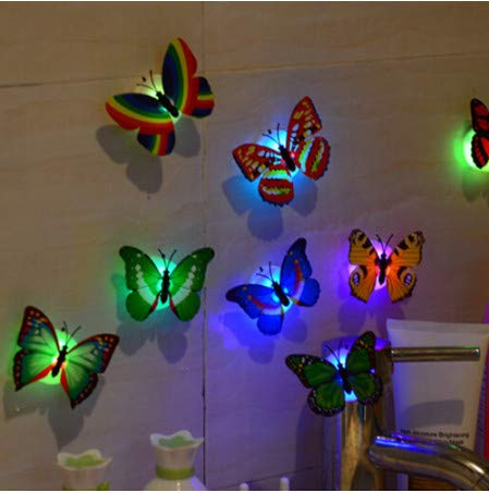 TTBH Wall Stickers Butterfly Led Lights Wall Stickers 3D House Decoration for Kitchen for Bathroom for Livingroom Decoration1 Pcs
