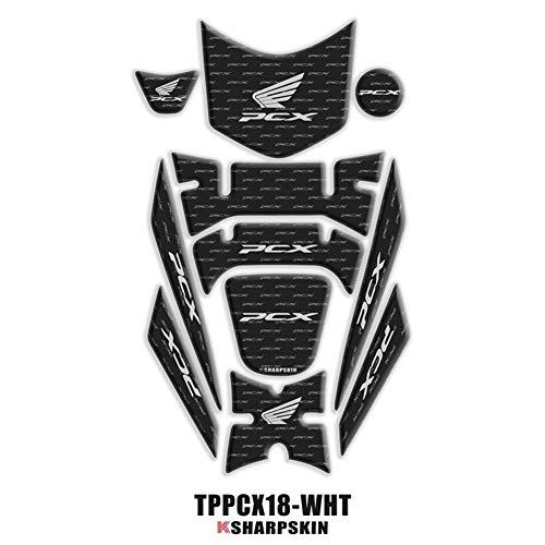 Protección 3D carenado Gas Cap cojín del tanque de la etiqueta engomada for Honda PCX 125 150 2018 2019 PCX125 PCX150 (Color : TPPCX18 WHT)