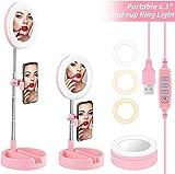 Luz de anillo para selfies de 6 pulgadas con trípode y soporte para teléfono / almohadilla de pantalla móvil / luz de anillo de mini cámara LED para maquillaje, utilizada para video