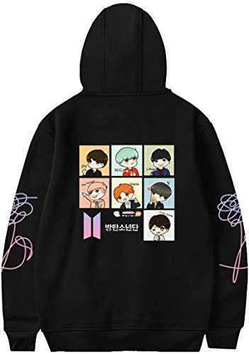 OLIPHEE OLIPHEE Mädchen Kapuzenpullover Cartoon BTS Warme Jumper für Jungen KPOP Sweatshirt Schwarz 2XS